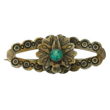 Turquoise Stone and Vintage Silver Scalloped Pin
