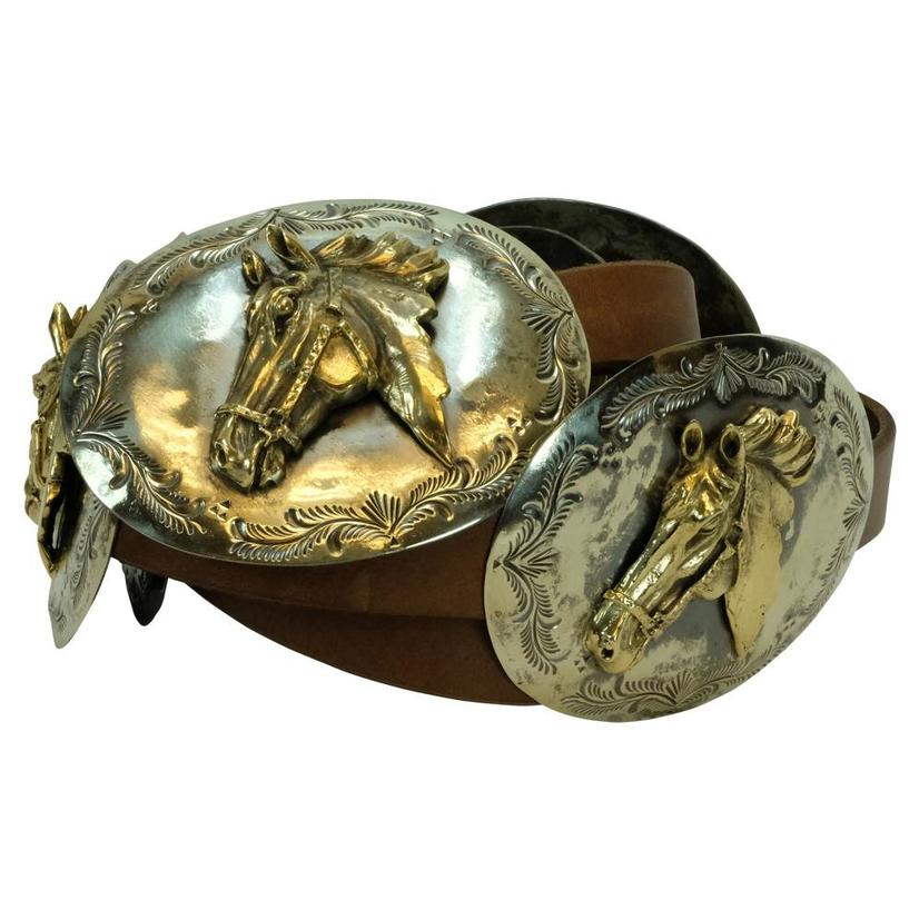 Solid Silver Buckle With Gold Horse Head Brown Belt