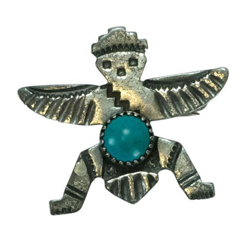 Vintage Turquoise And Silver Zuni Knife Wing Pin