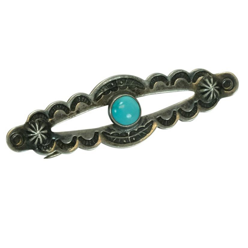 Vintage Turquoise And Silver Scalloped Pin