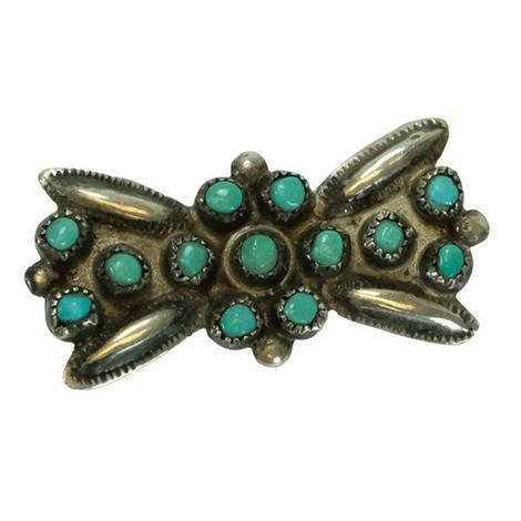Vintage Silver and Turquoise Bow Pin