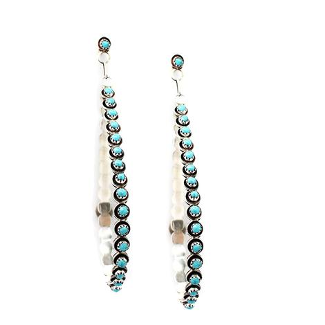 Large Turquoise and Silver Drop Hoop Earrings