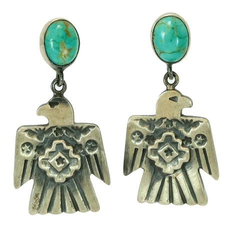 Sterling Silver Thunderbird Turquoise Stud Post Earrings