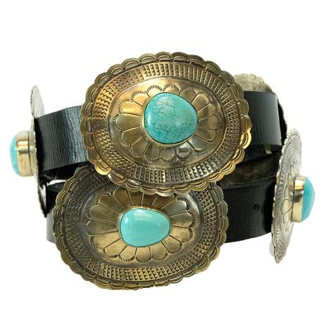 Oval Concho Belt With Turquoise