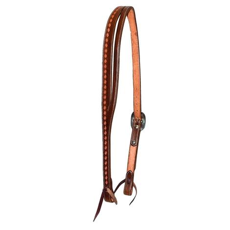 STT Premium Tooled Slit Ear Headstall - Brown or Black 3/4