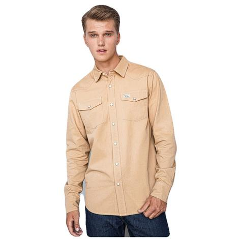 Kimes Ranch Brown Denim Western Cut Long Sleeve Snap Men's Shirt