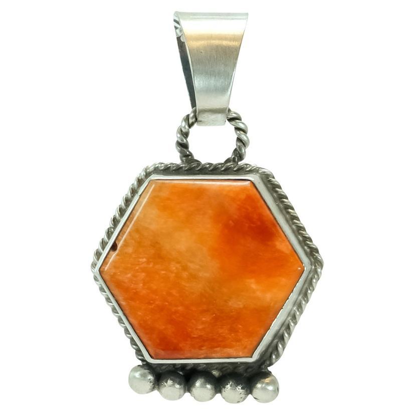 Sterling Silver Hexagon Orange Coral Pendant