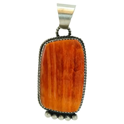 Sterling Silver Rectangle Orange Coral Pendant