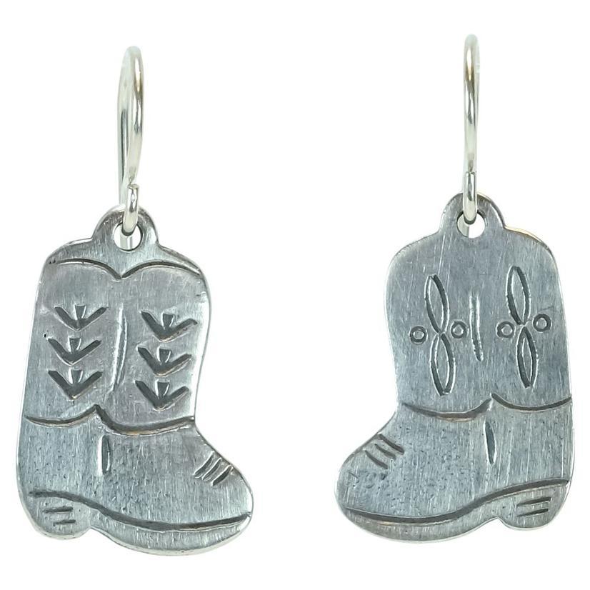 Sterling Silver Boot Dangle Earrings