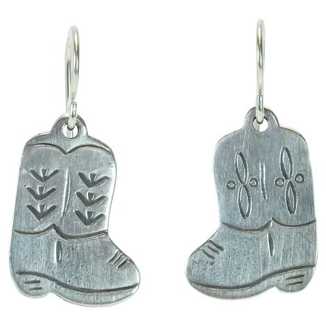 Sterling Silver Boot Dangle Earrings