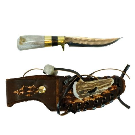 STT Antler and Brown Handle Knife 10
