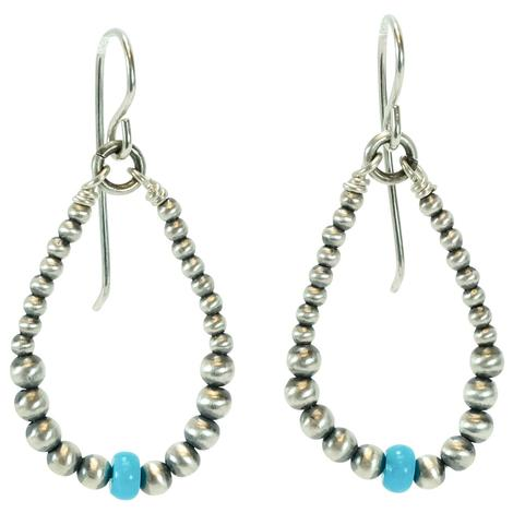 Navajo Pearl Medium Hoop Earrings with Sleeping Beauty Turquoise Beads