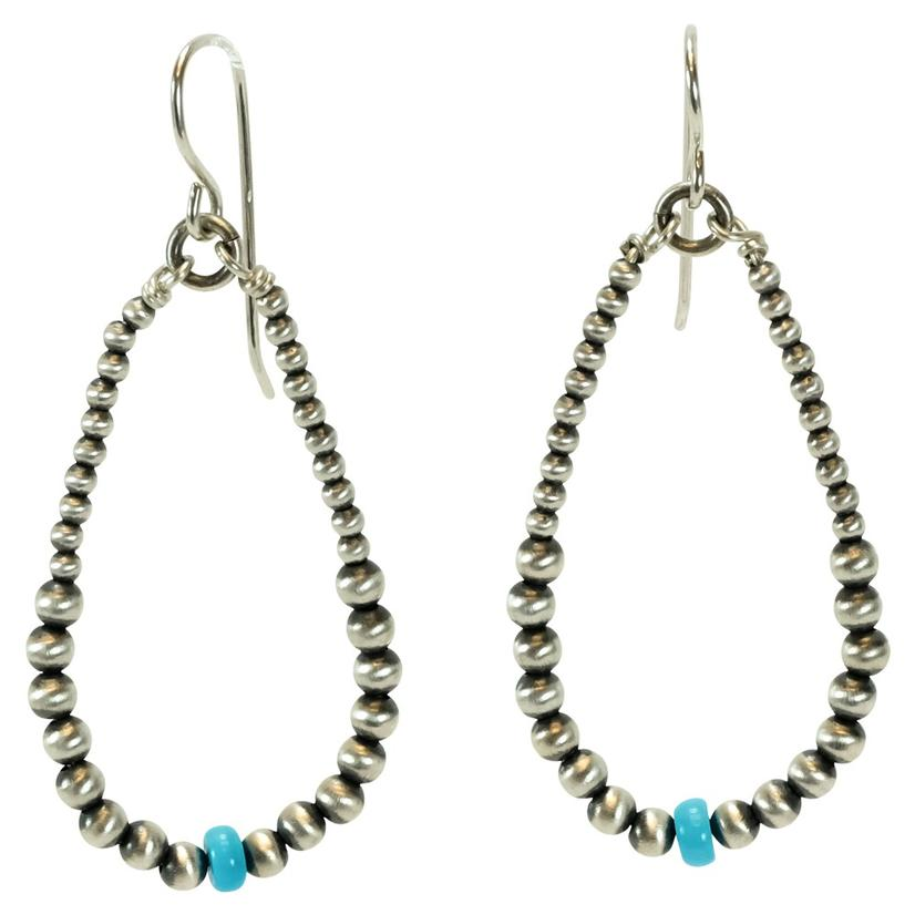 Navajo Pearl Large Hoops With Sleeping Beauty Turquoise Beads