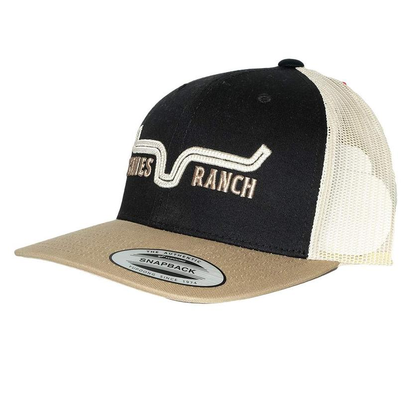8a89d89bd0d34 Kimes Ranch Oxbow Trucker Black and Gold Meshback Cap