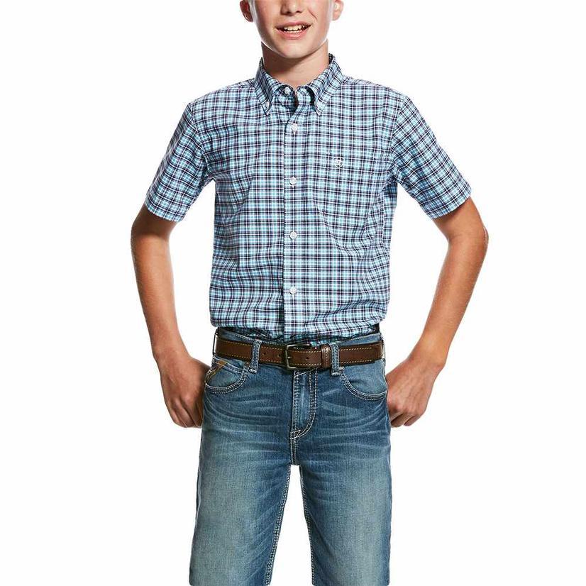 Ariat Purple Blue Plaid Pro Series Short Sleeve Button Down Boy's Shirt