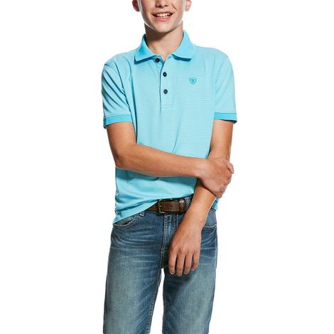 Ariat Turquoise Mini Stripe Tek Polo Boy's Short Sleeve Shirt