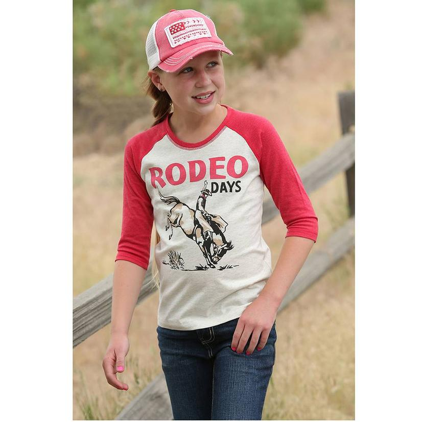 Cruel Girl Red Rodeo Days Three Quarter Sleeve Girl's Tee