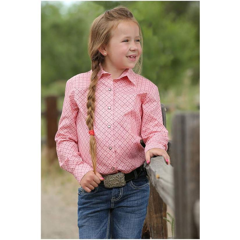 Cruel Girl Pink Long Sleeve Western Snap Girl's Shirt