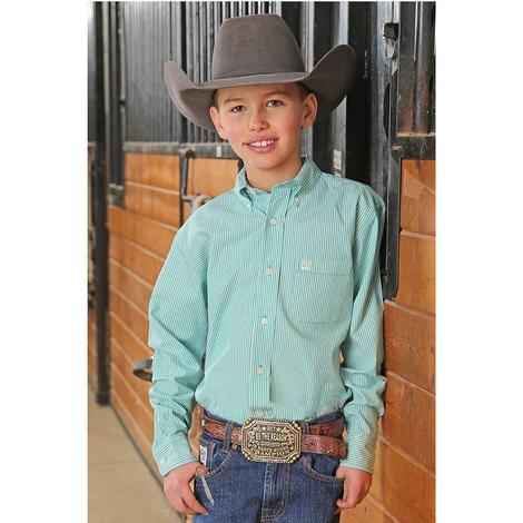 Cinch Teal White Vertical Stripe Long Sleeve Button Down Boy's Shirt