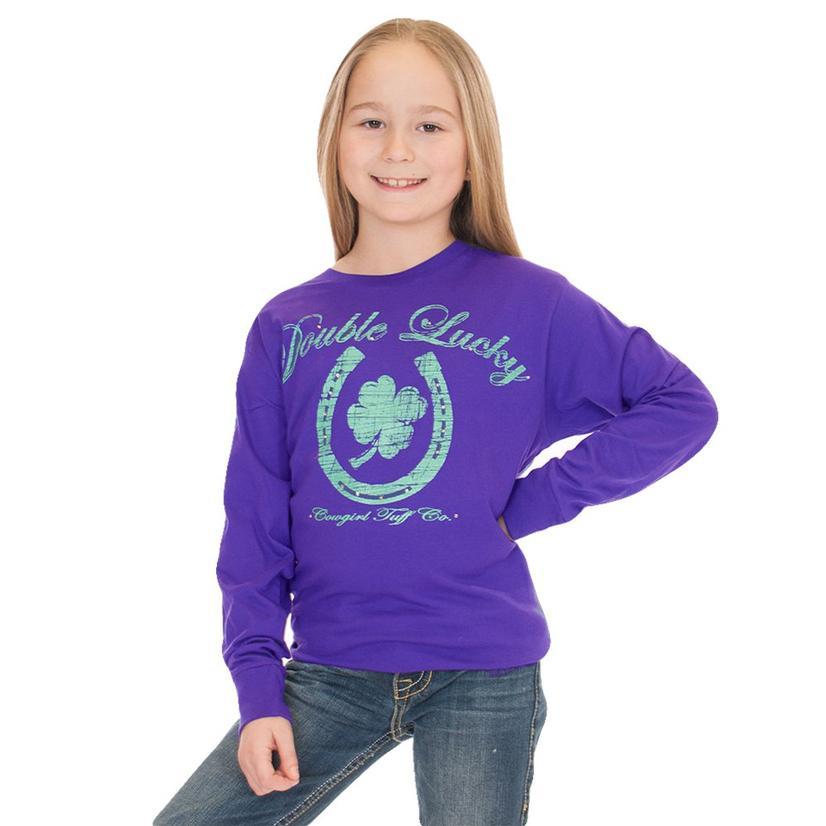 Cowgirl Tuff Double Lucky Purple Horseshoe Long Sleeve Girl's Shirt