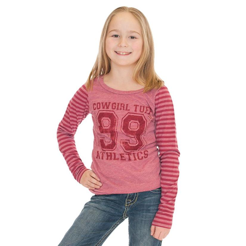 Cowgirl Tuff Raspberry Stripe Long Sleeve Girl's Shirt