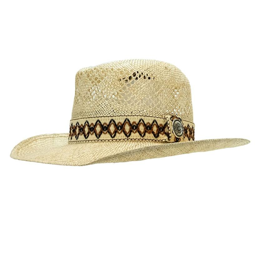 Charlie 1 Horse Dance Hall Natural Straw Hat With Brown Border 3.5in Brim