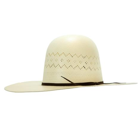 Rodeo King Aztec Open Crown Natural Straw Hat 4.25 Brim
