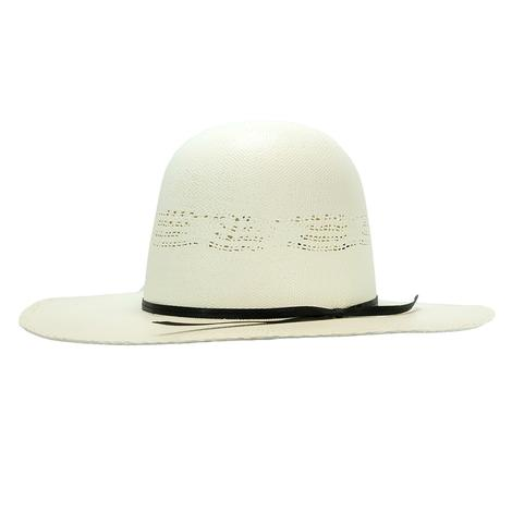 Rodeo King Ivory Bangora Open Crown Straw Hat 3.5in Brim