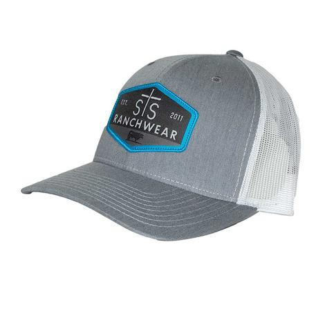 STS Ranchwear Patch Heather Grey and White Meshback Cap