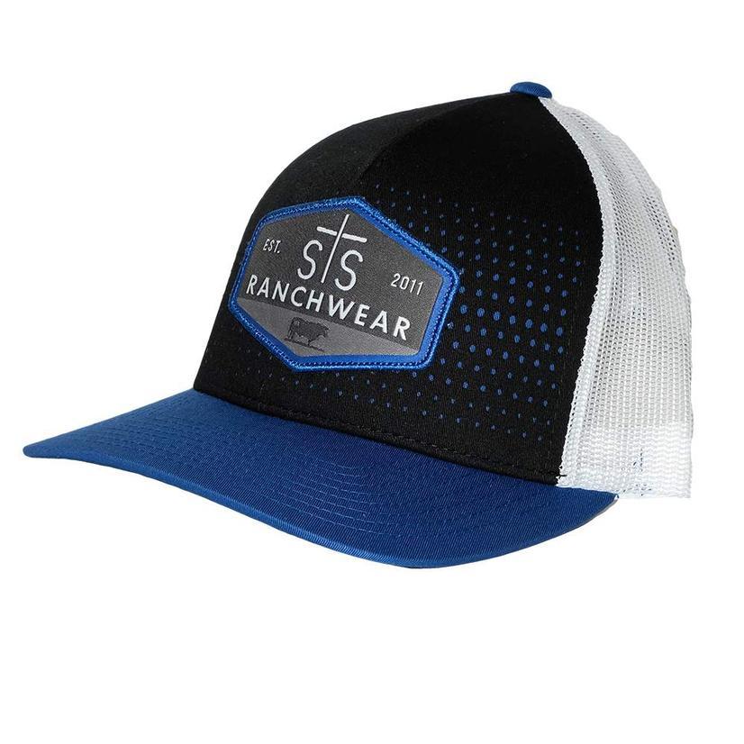 Sts Ranchwear Black Blue Patch White Meshback Cap