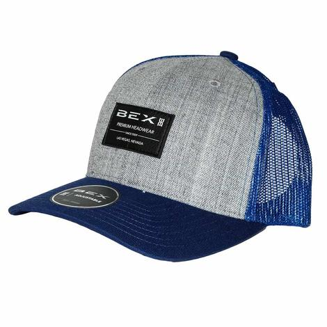 BEX Bicast Grey Blue Leather Patch Meshback Cap