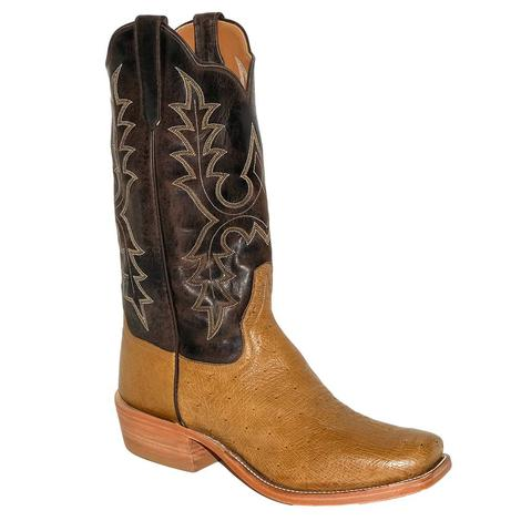 Rios of Mercedes Antiquie Saddle Smooth Ostrich with Chocolate Madcat Top Men's Boots