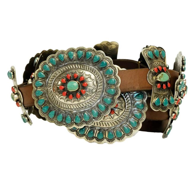 Green Turquoise And Coral Stone Concho Brown Belt
