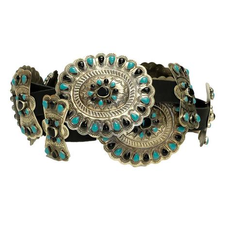 Black and Green Turquoise Stone Silver Concho Black Belt
