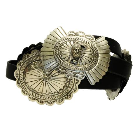Silver Indian Chief Concho Black Belt
