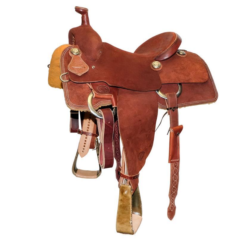 Stt Full Chestnut Roughout Team Roping Saddle