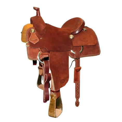 STT Full Chestnut Roughout Team Roping Saddle