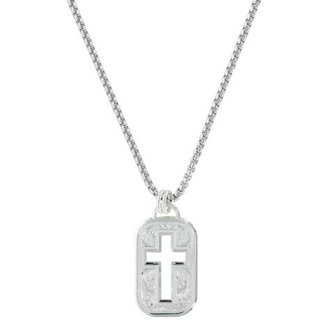 Montana Silversmith Silver Floral Etched Cross Cut Tag 20