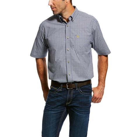 Ariat Navy Natola Stretch Pro Series Short Sleeve Button Down Men's Shirt