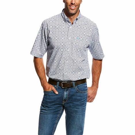 Ariat White Neeson Print Casual Short Sleeve Button Down Men's Shirt