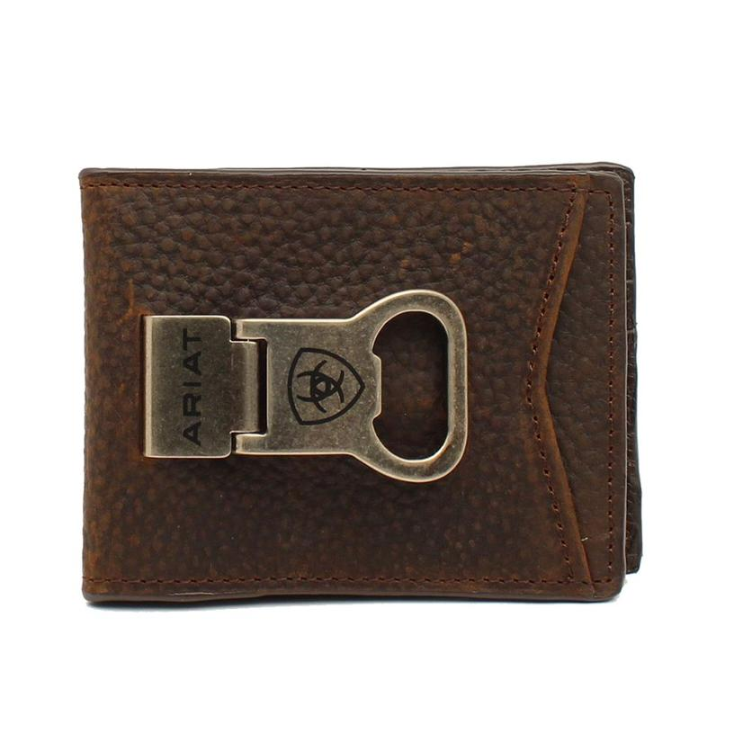 Ariat Brown Bifold Bottle Opener Money Clip
