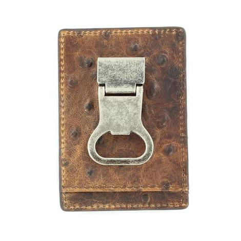 Nocona Brown Ostrich Bottle Opener Money Clip