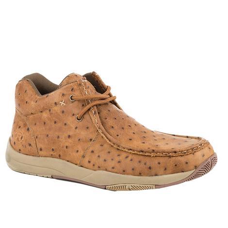 Roper Brown Vintage Faux Ostrich Men's Shoe