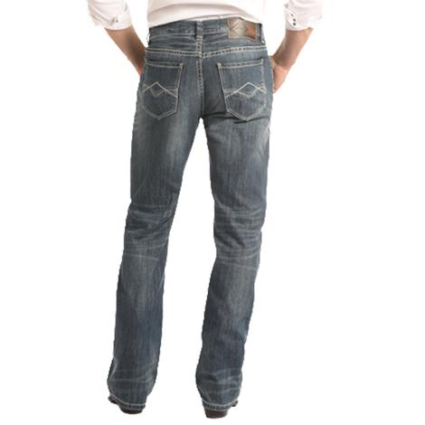 Rock & Roll Double Barrel Straight Dark Vintage Wash Men's Jeans