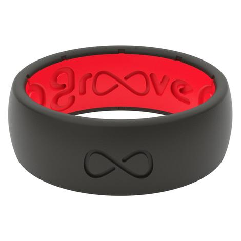 Groove Life Original Solid Silicone Men's Ring - Black Raspberry Red