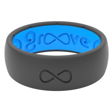 Groove Life Original Solid Silicone Men's Ring - Deep Stone Grey and Blue