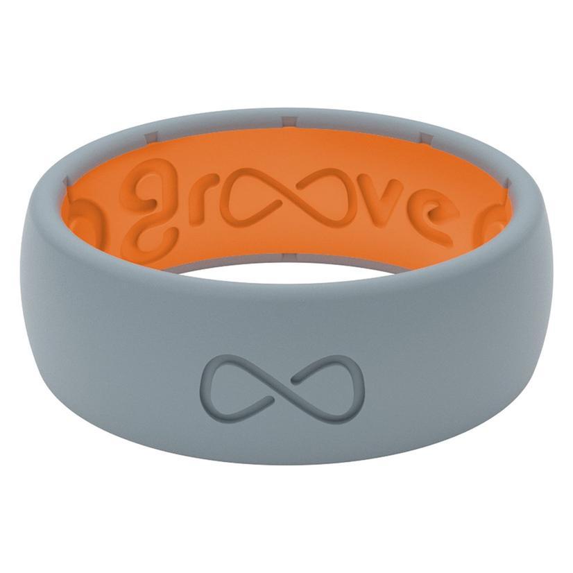 Groove Life Original Solid Silicone Men's Ring - Storm Grey And Orange