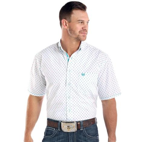 Panhandle White and Blue Print Short Sleeve Button Down Men's Shirt