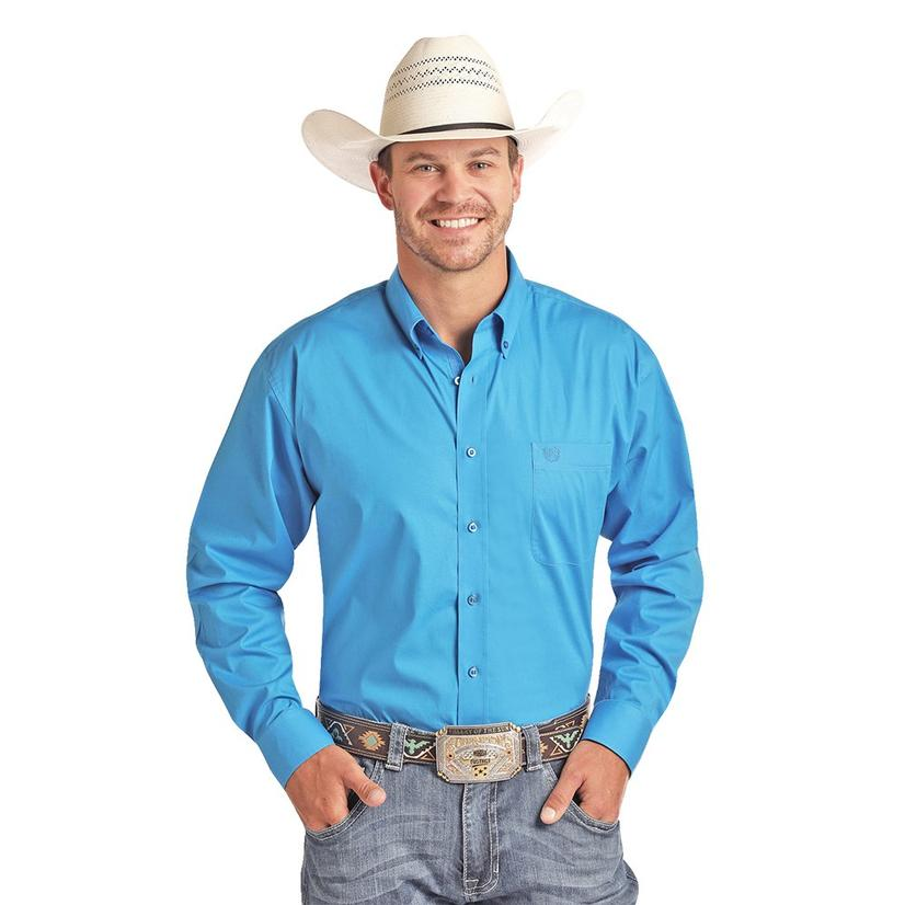 Panhandle Solid Blue Long Sleeve Button Down Men's Shirt