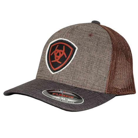 Ariat Brown with Black and Orange Logo Meshback Cap